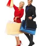 Mann und Frau mit Einkaufstüten — Stockfoto