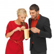 Foto Stock: Man and woman with present