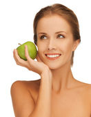 Woman with green apple — Stock Photo