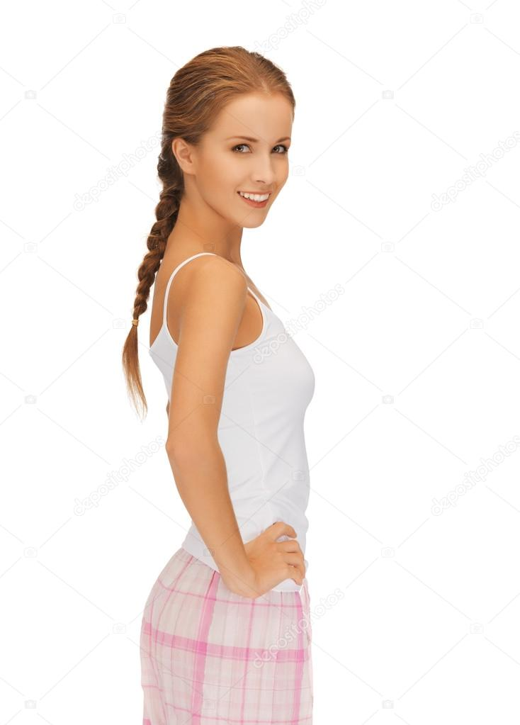 Bright picture of happy and smiling woman in cotton pajamas — Stock Photo #15599623