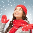 Beautiful woman in hat, muffler and mittens — Stock Photo #15917787