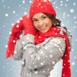 Beautiful woman in hat, muffler and mittens — Stock Photo #15917903