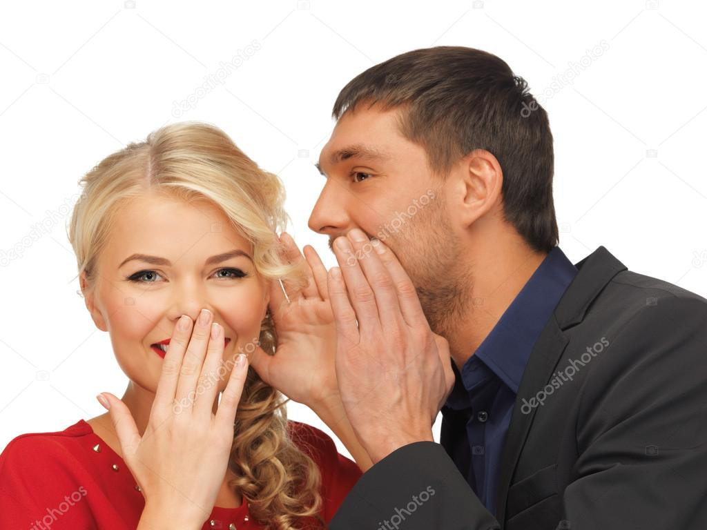 Bright picture of man and woman spreading gossip (focus on woman) — Stock Photo #15912839