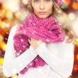 Beautiful woman in winter hat - Stockfoto