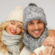 Family couple in a winter clothes — Stock Photo #16318383
