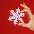 Woman's hands holding a snowflake - Stock Photo