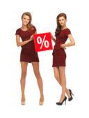 Dos adolescentes vestidas de rojo con el signo de porcentaje — Foto de Stock