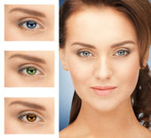 Woman with different color of eyes — Stockfoto