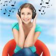 Happy teenage girl in big headphones — Stock Photo #17212645