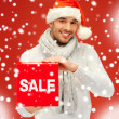 Royalty-Free Stock Photo: Handsome man in christmas hat