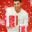 Man holding many gift boxes — Stock Photo #17508307