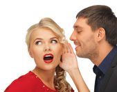 Man and woman spreading gossip — Stock Photo