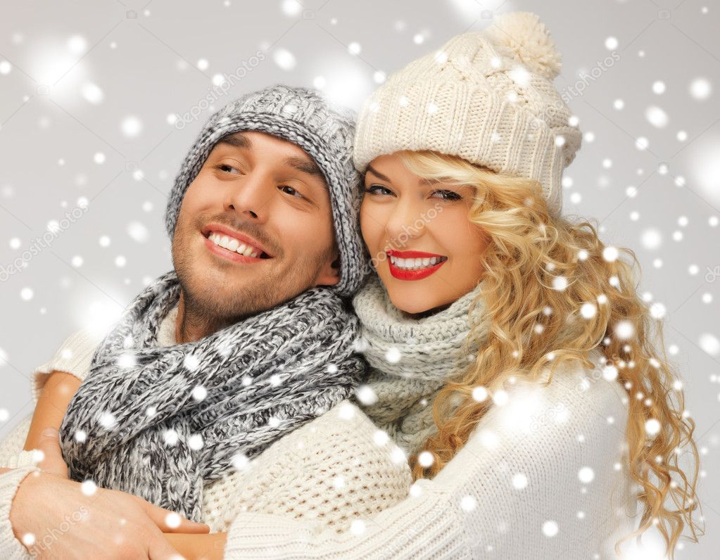 Bright picture of family couple in a winter clothes — Stock Photo #17509203