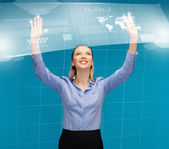 Woman working with virtual screens — Stock Photo