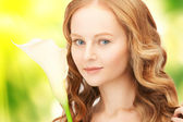 Beautiful woman with calla flower — Stock Photo