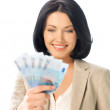 Lovely woman with euro cash money — Stock fotografie