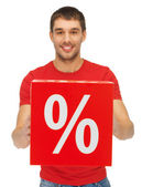 Man with percent sign — Stock Photo
