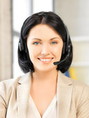 Friendly female helpline operator — Stok fotoğraf
