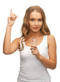 Mujer con bulbo ahorro de energía — Foto de Stock