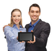 Uomo e donna con tablet pc — Foto Stock