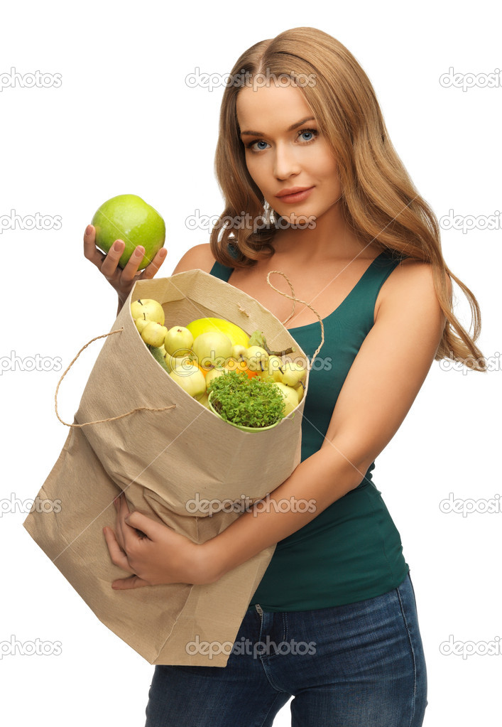 Picture of woman with shopping bag full of fruits — Stock Photo #18548869