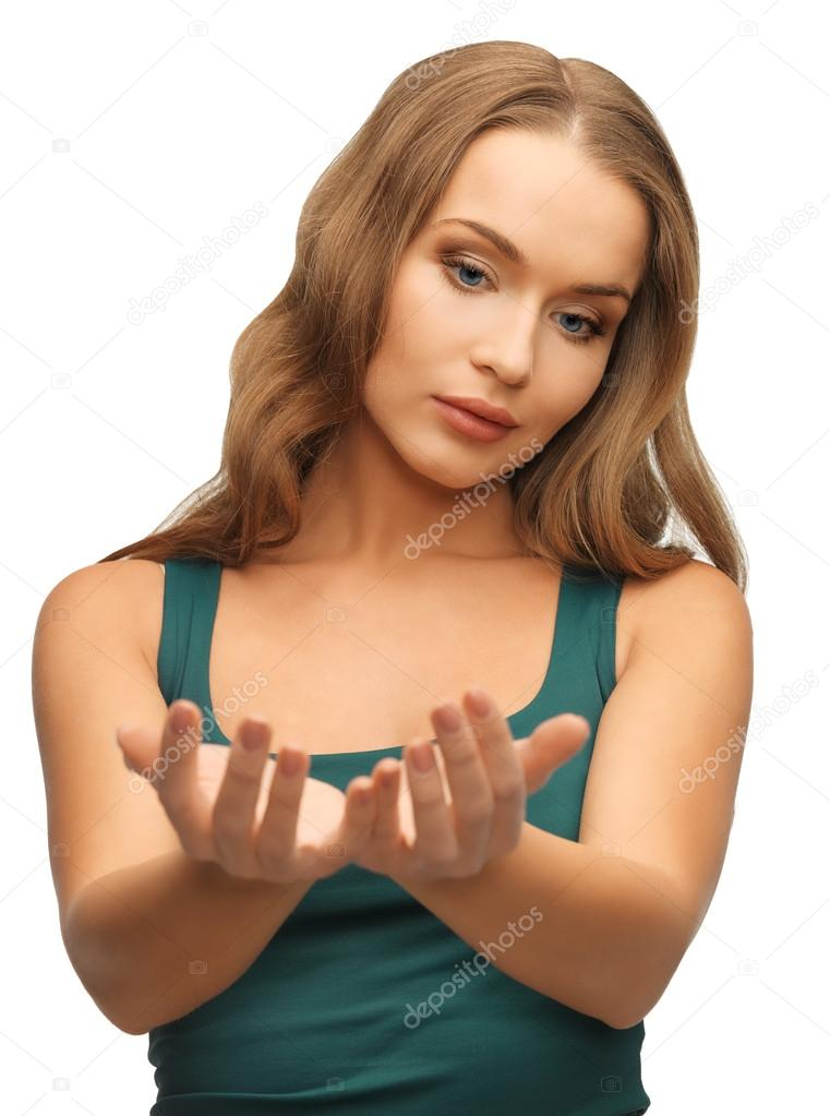 Picture of woman holding something on the palms — Stock Photo #18548903