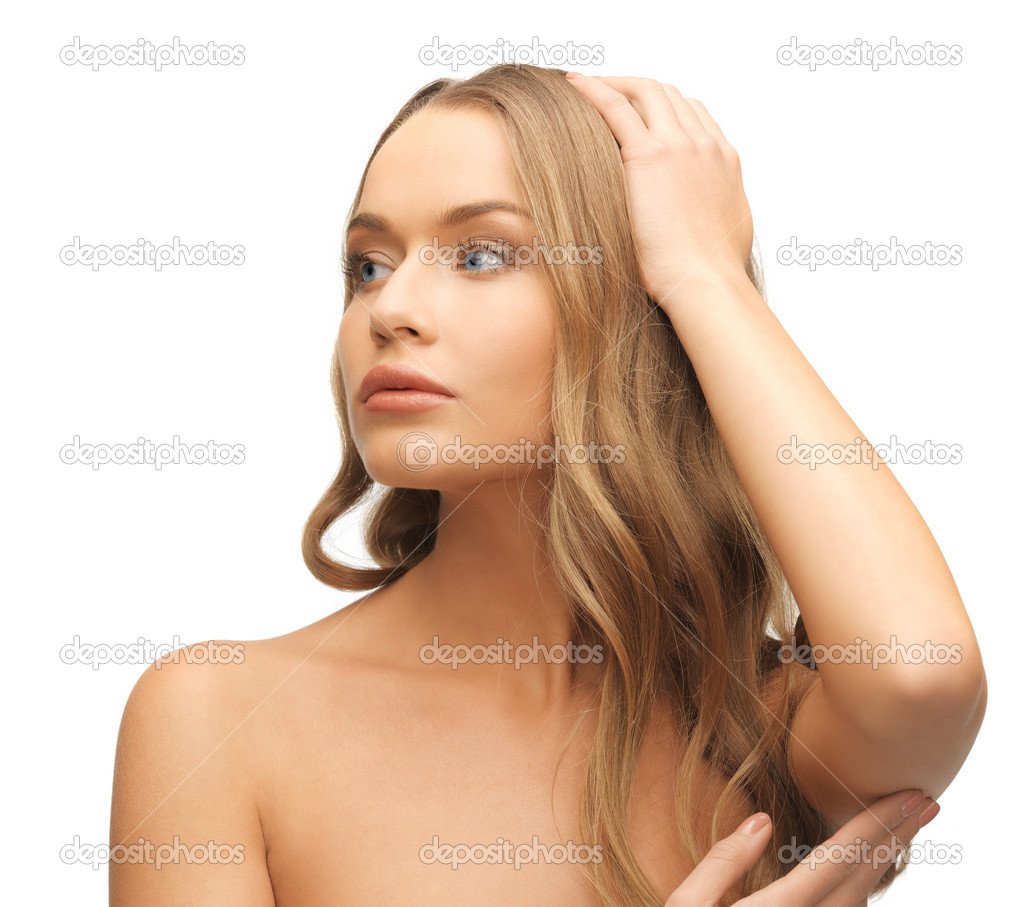 Face and hands of beautiful woman with long hair — Stock Photo #18548937