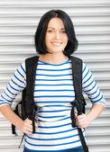 Woman with bagpack — Stockfoto