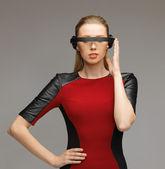 žena s futuristické brýle — Stock fotografie
