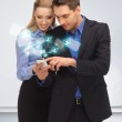 Man and woman reading sms — Stock Photo #18898473