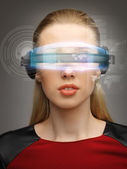 Woman with futuristic glasses — Stock Photo