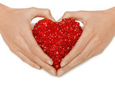 Woman hands holding heart — Foto Stock