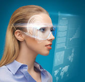 Woman with futuristic glasses — Stockfoto
