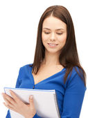 Woman with notepad — Foto de Stock