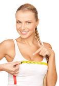 Mulher de seios de medição — Foto Stock