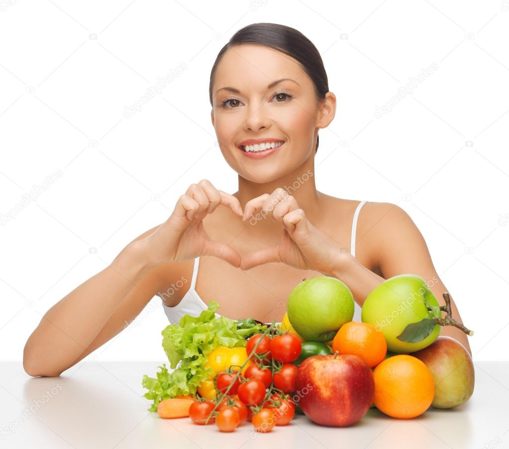 Picture of beautiful woman with fruits and vegetables — Stock Photo #19731985