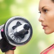 Woman with dumbbells — Stock Photo #19816851