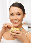 Woman with mung sprout beans — Stock Photo