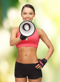 Woman with megaphone — Stockfoto