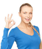 Young woman showing ok sign — Foto de Stock