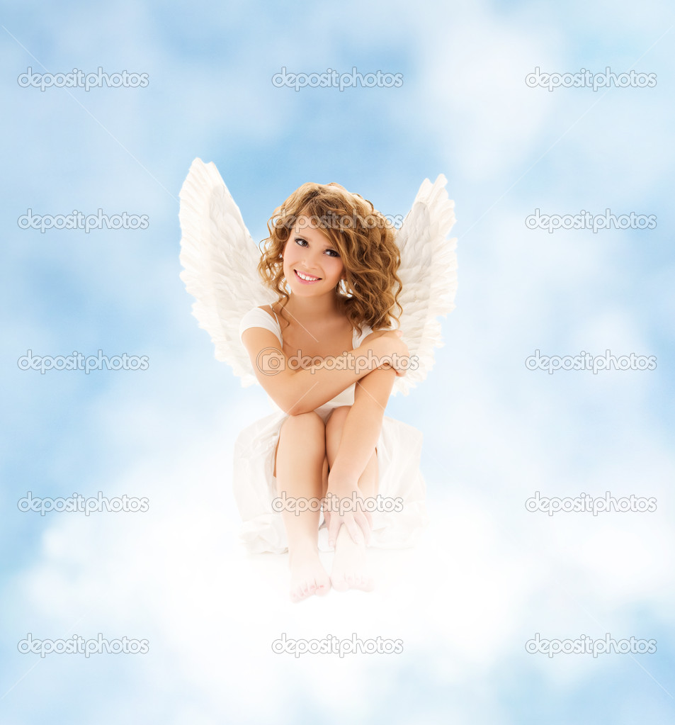 Picture of happy teenage angel girl  Stock Photo #20010035