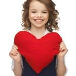 Girl with big heart — Stock Photo