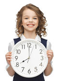 Girl with big clock — Stock Photo
