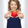 Girl with small heart — Stock Photo