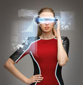 Woman with futuristic glasses — Stok fotoğraf
