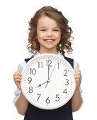 Chica con gran reloj — Foto de Stock