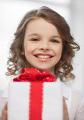 Girl with gift box — Stock fotografie