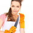 Housewife with big knife — Stock Photo #21520495