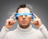 Businessman with digital glasses — Stockfoto