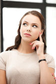 Calm and serious thinking woman — Stock Photo